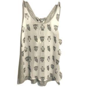 By Eloise Sheer Owl Tank Top XS Gray Anthropologie